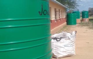 Placing of rain water harvesting tanks at school