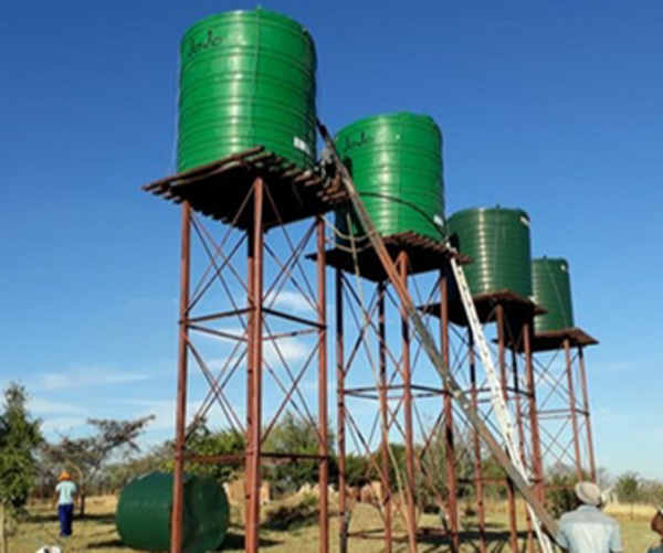 Newly erected water tanks