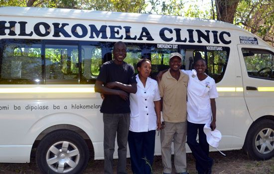 Phelwana Clinic staff standing by their bus